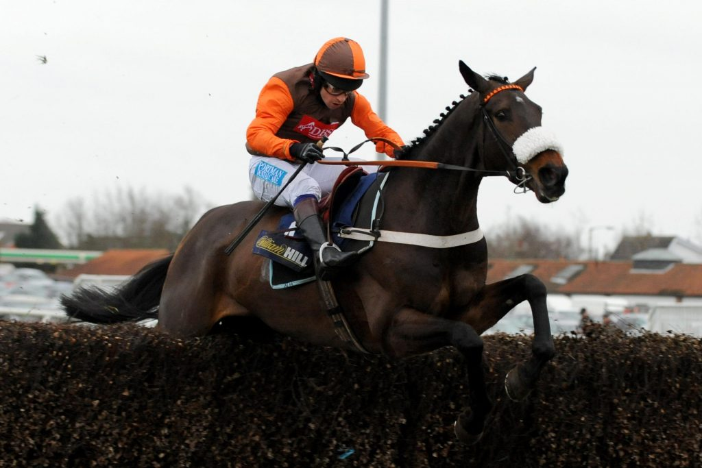 Long Run ridden by Sam Waley-Cohen jumps the fence during the William Hill King George VI Chase